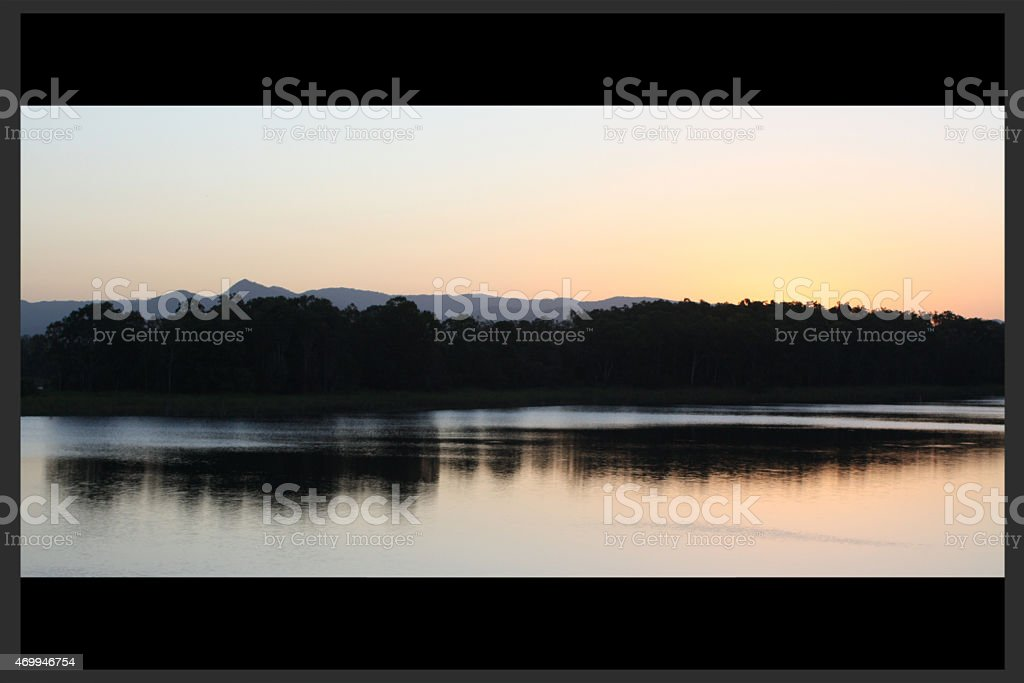 Sunset view of Lake Samsonvale from Harrison's Pocket stock photo