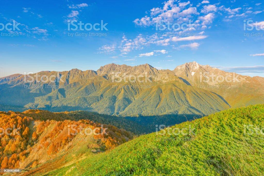 Sunset view of Mount Chugush. stock photo
