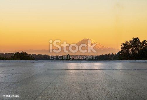 sunset view of mount rainier from empty floor,washington,usa.