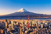 istock Sunset view of Mt. Fuji and Tokyo skyline 1142573031
