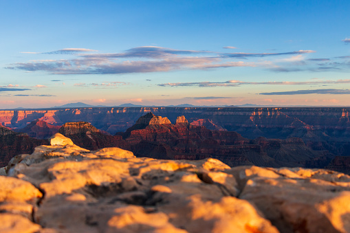 Sunset view of North Grand Canyon