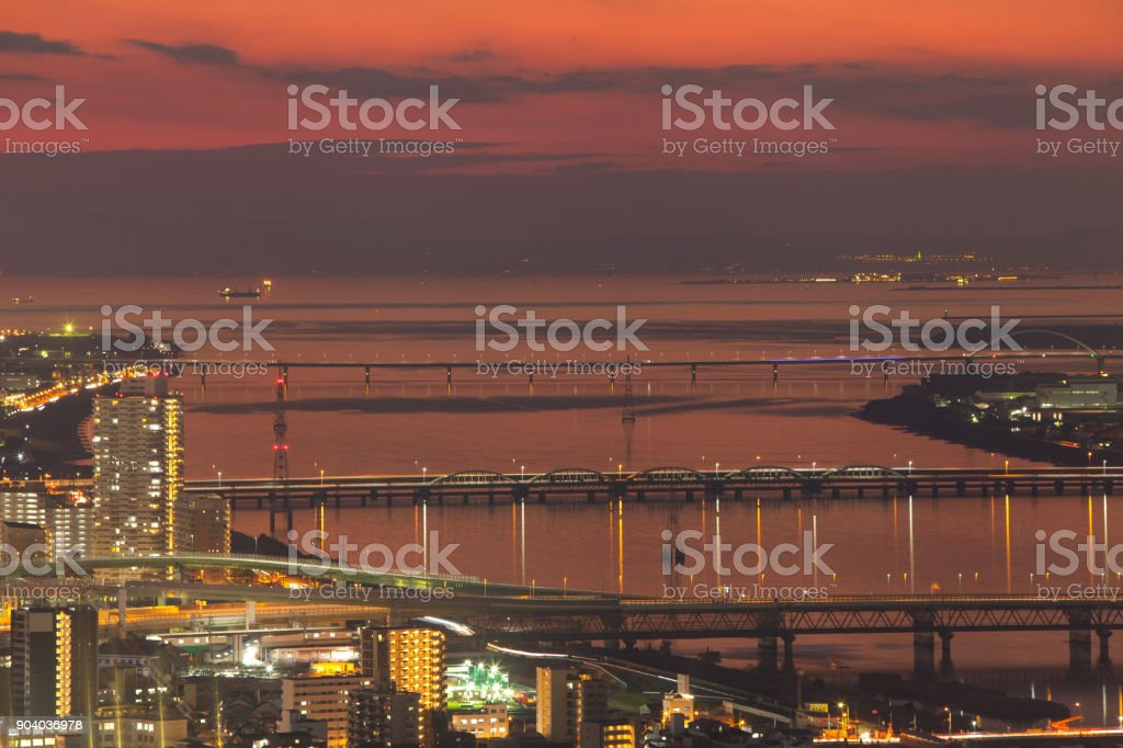 Sunset View of osaka bay from umeda sky bulding stock photo