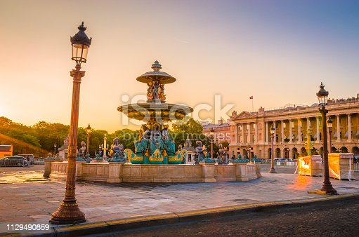 Sunset view of Place de la Concorde in Paris, France