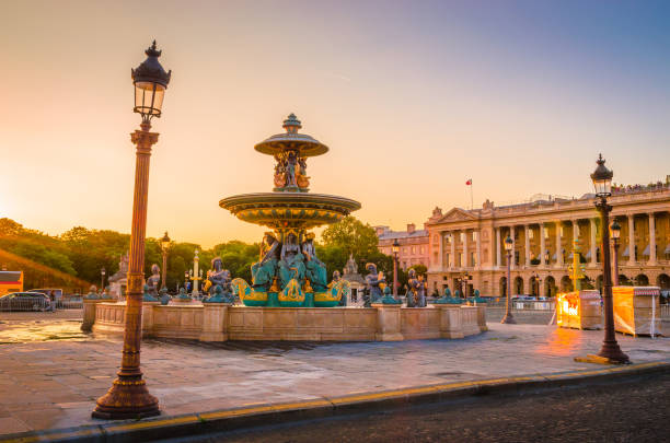Sunset view of Place de la Concorde in Paris, France Sunset view of Place de la Concorde in Paris, France supersonic airplane stock pictures, royalty-free photos & images