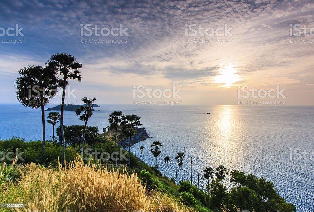 Sunset view of Promthep Cape in Phuket, Thailand stock photo