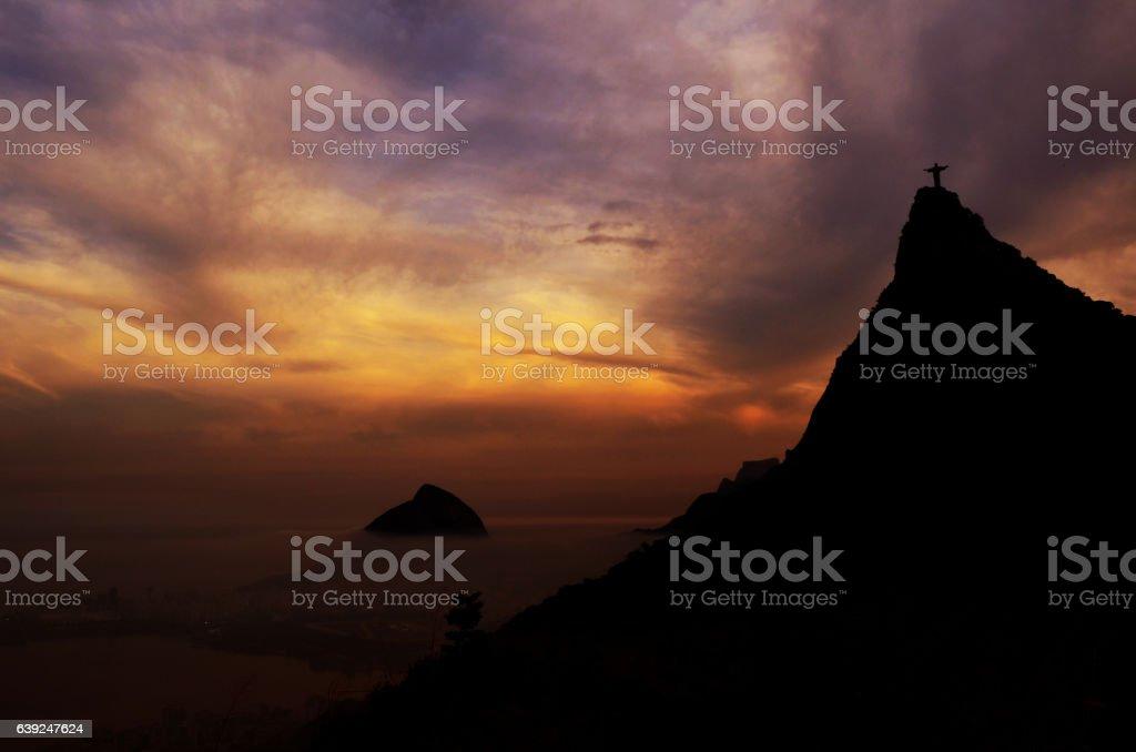 Sunset view of Rio de Janairo, Brazil stock photo