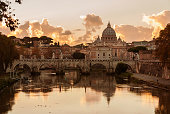 istock Sunset view of Rome historic center with Tiber River 1257106844