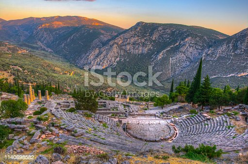 istock Sunset view of ruins of theatre at ancient Delphi, Greece 1140698582