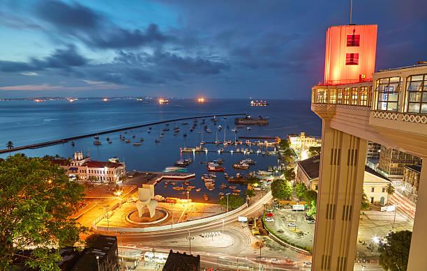 Vista del atardecer de Salvador de la ciudad de Bahía, Brasil - foto de stock