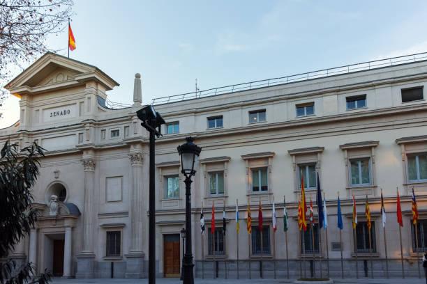 Madrid 'de Senatonun günbatımı görünümü, Ispanya stok fotoğrafı