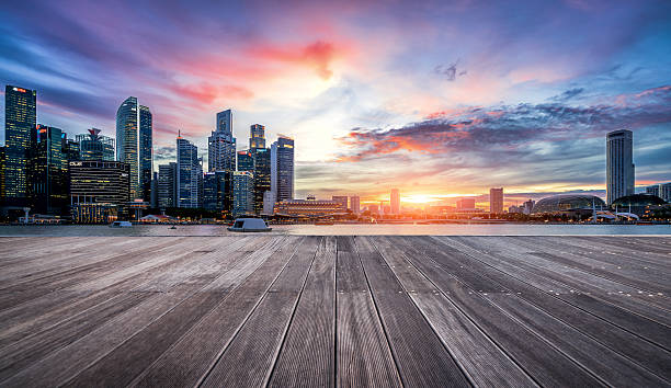 sunset view of singapore skyline - 부잔교 뉴스 사진 이미지