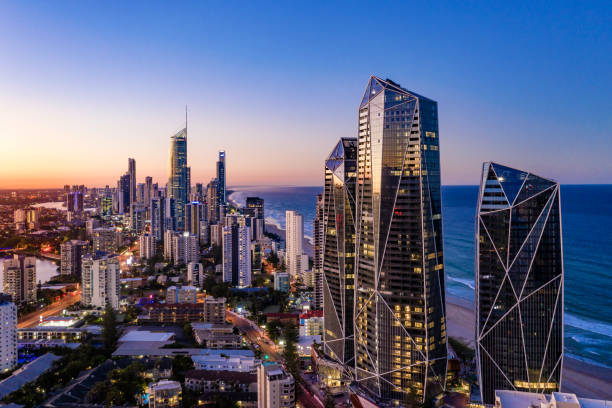 Sunset view of Surfers Paradise on the Gold Coast looking from the south stock photo
