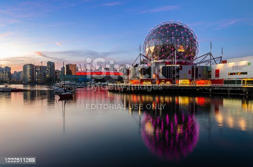 Vancouver, Canada - October 20, 2018 : Twilight Vancouver Downtown skyline of False Creek with World of Science and Stadium in British Columbia, Canada.