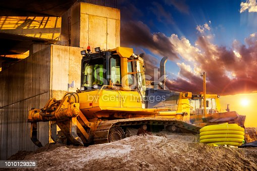 The bulldozer prepares the ground for the construction of highway S6, Goleniow, Poland