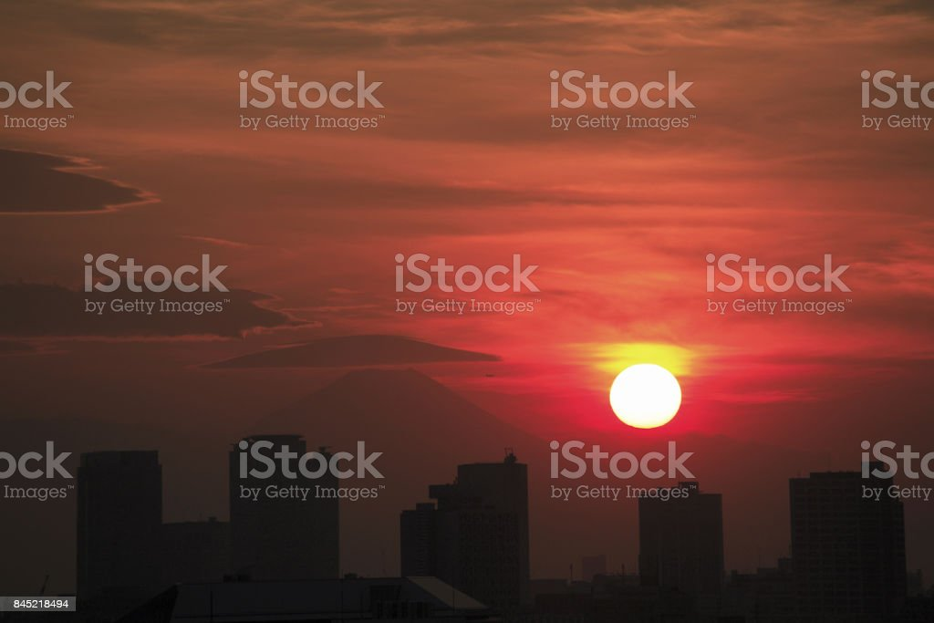 Sunset view of the city stock photo