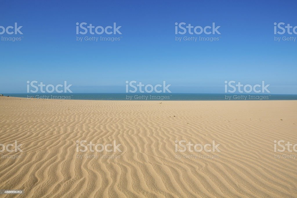 Sunset view of the Colombian coastline in La Guajira stock photo