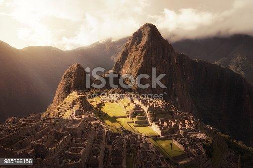 Sunset View Of The Inca City Machu Picchu In Peru