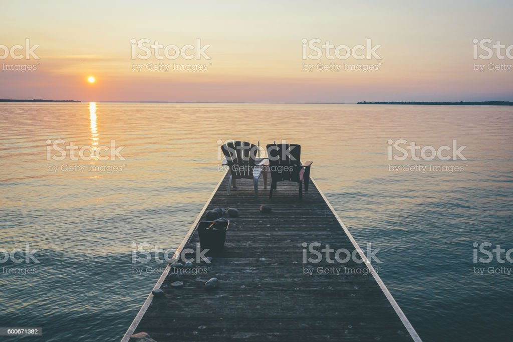Sunset view of the lake from Canada cottage stock photo