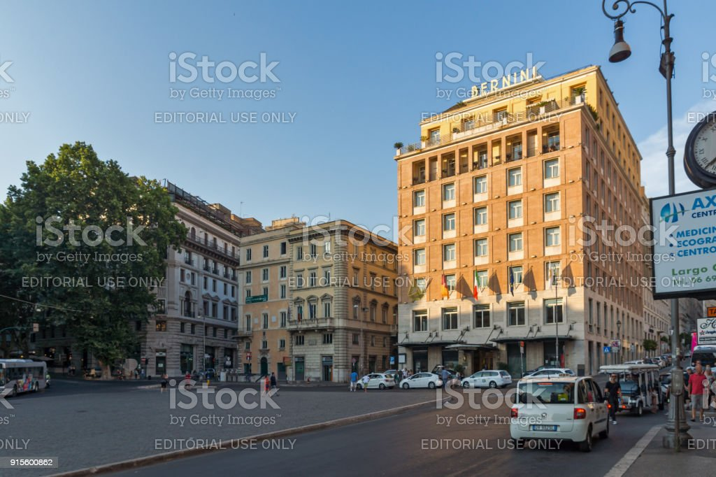 Sunset view of Triton Fountain at Piazza Barberini in Rome, Italy stock photo