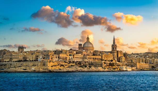 Sunset view of Valletta, the capital of Malta. stock photo