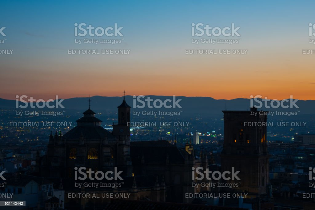 Sunset view on Granada city and Granada Cathedral stock photo