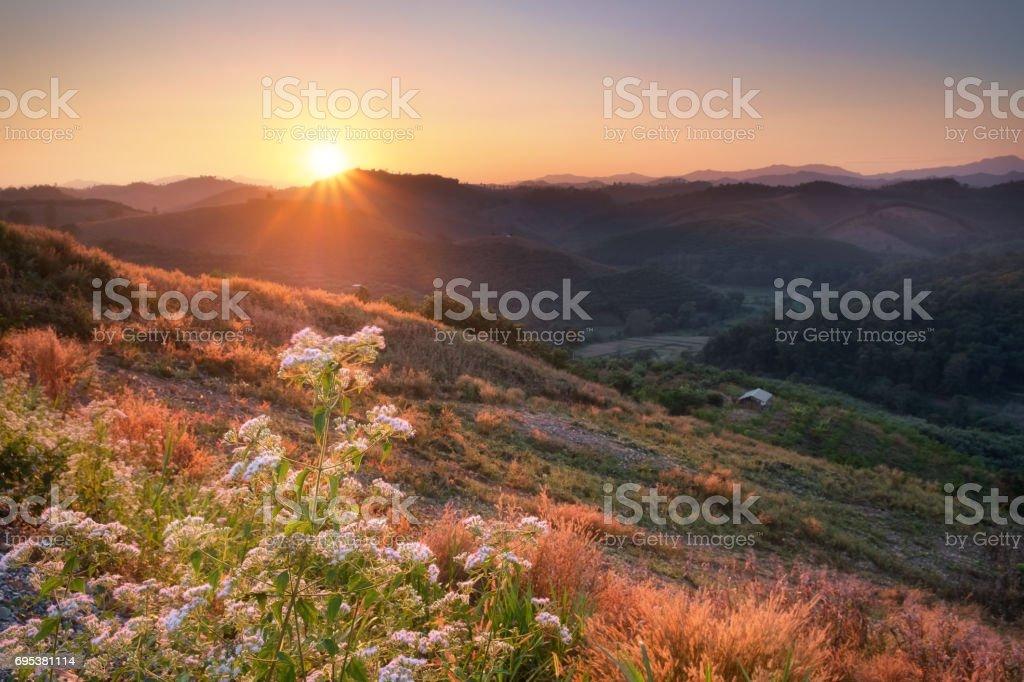 Sunset view on mountain at Nan province, Thailand. stock photo