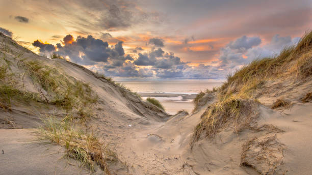 Sunset View on North Sea stock photo