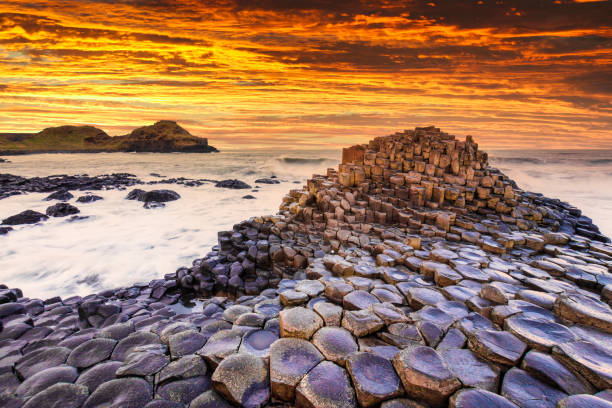 Sunset view on the Giants Causeway in Northern Ireland. stock photo