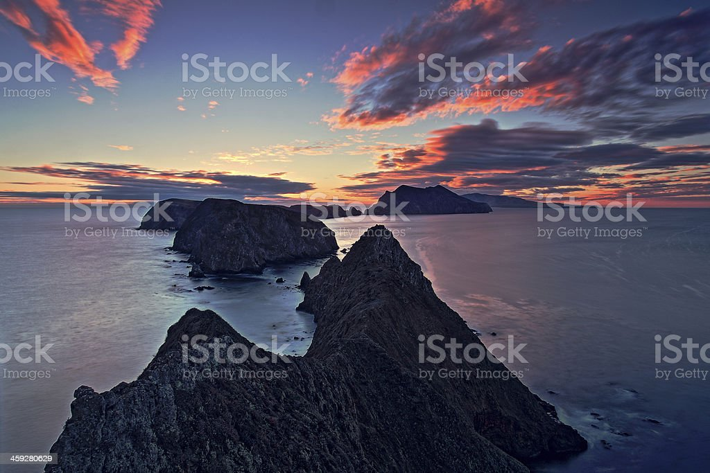 Sunset View over Inspiration Point of Anacapa Island stock photo