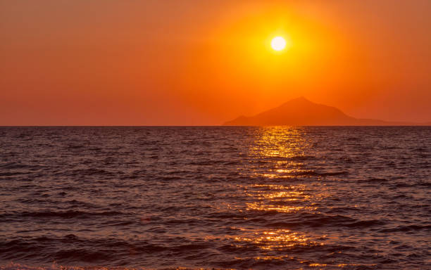 Sunset View over Mount Athos from Lemnos island - Greece stock photo