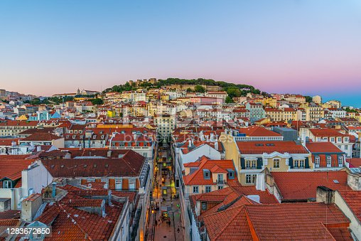 Sunset view over Sao Jorge castle in Lisbon, Portugal