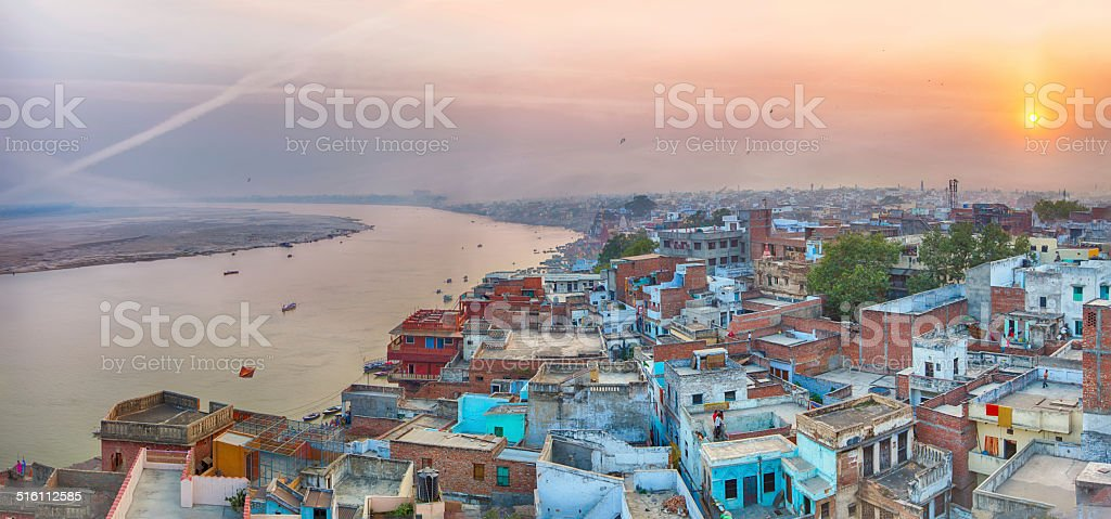 Sunset view over Varanasi during kite festival stock photo