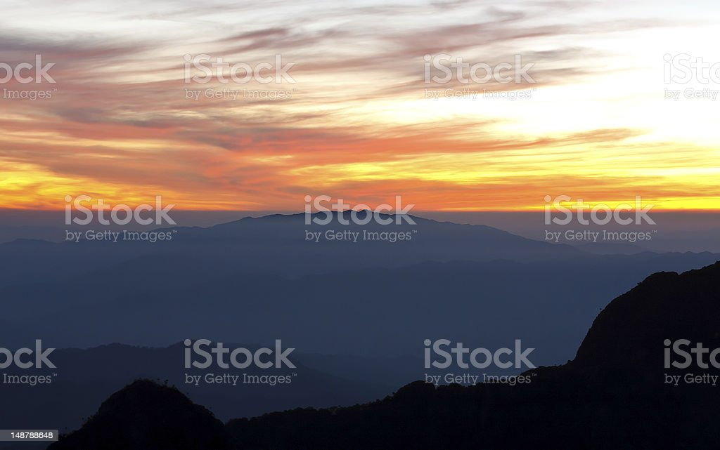 Sunset view point from Doi Chiang Dao mountain royalty-free stock photo