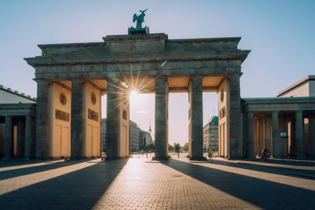 sunset  view to Brandenburg Gate -  Berlin, Germany stock photo