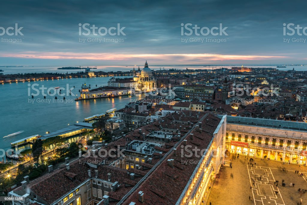 Sunset view west from Campanile di San Marco stock photo