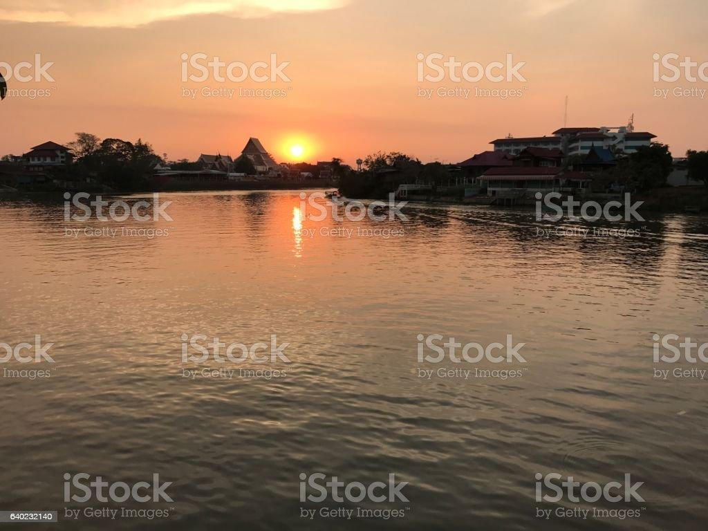 Sunset views along the river near Wat Phananchoeng, Thailand. stock photo