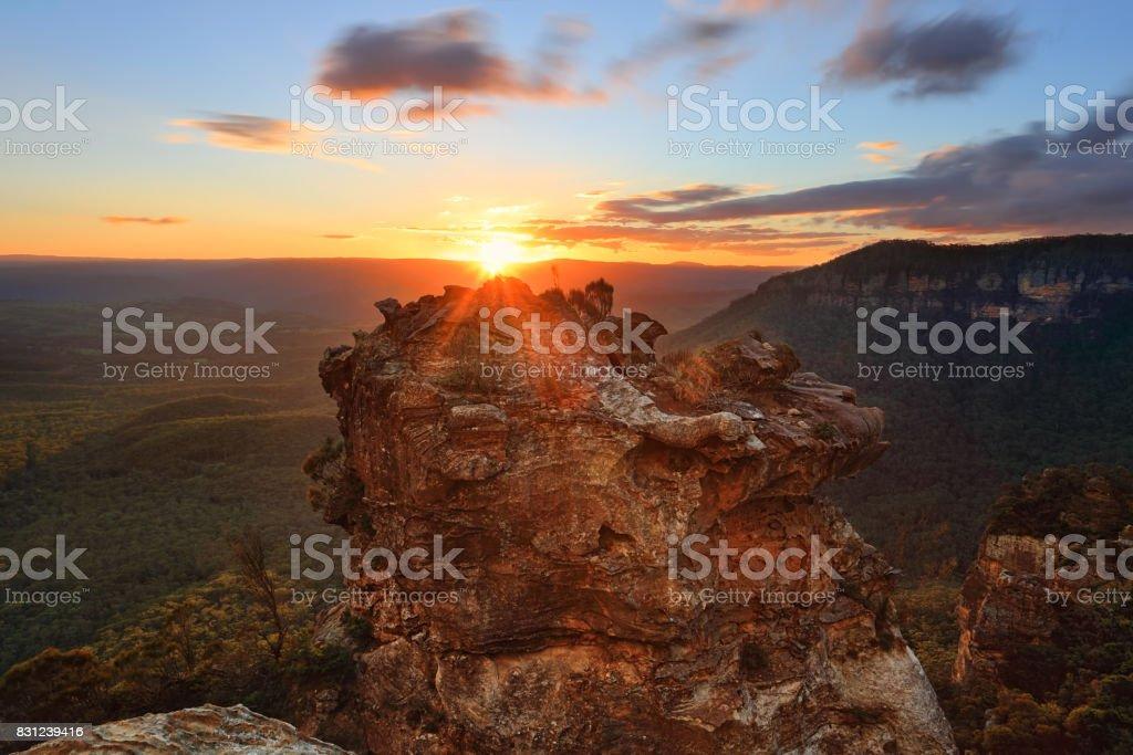 Sunset views from Katoomba Blue Mountains Australia stock photo