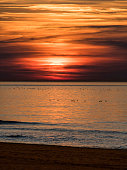 Sunset views of the Black Sea coast of Turkey. The place seen in the photograph is Inkumu district of Bartin.