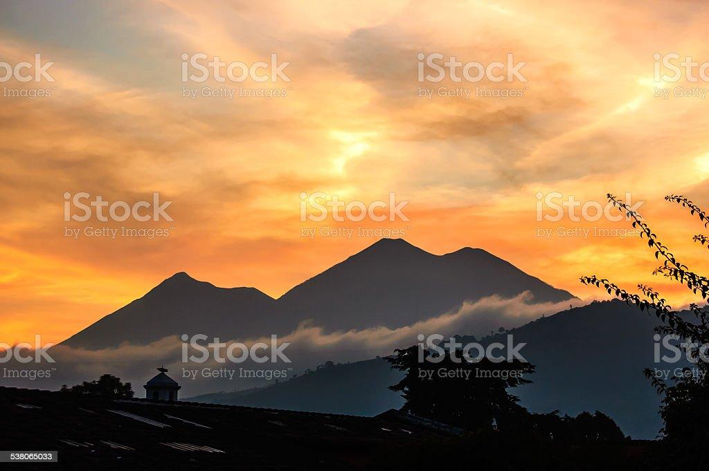 Sunset volcano view stock photo