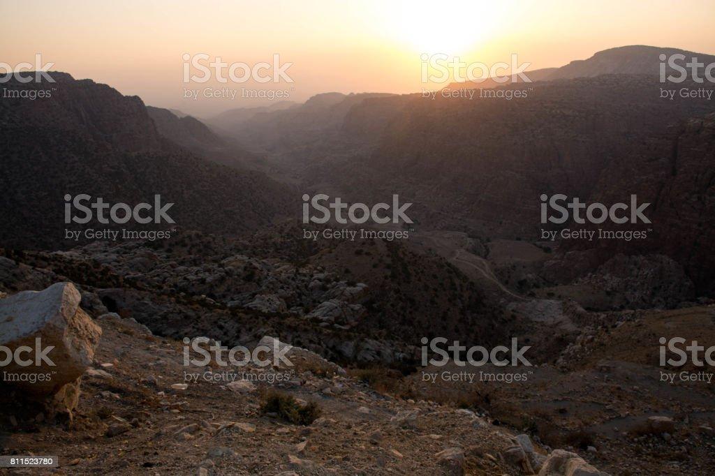 Sunset Wadi Dana stock photo