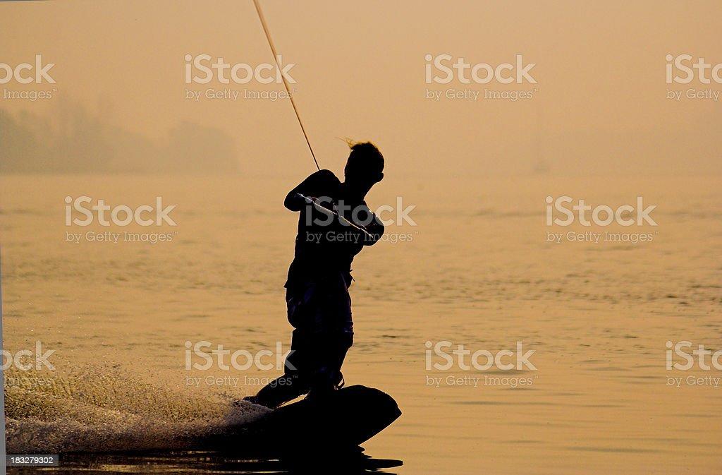 Sunset Wakeboarding royalty-free stock photo