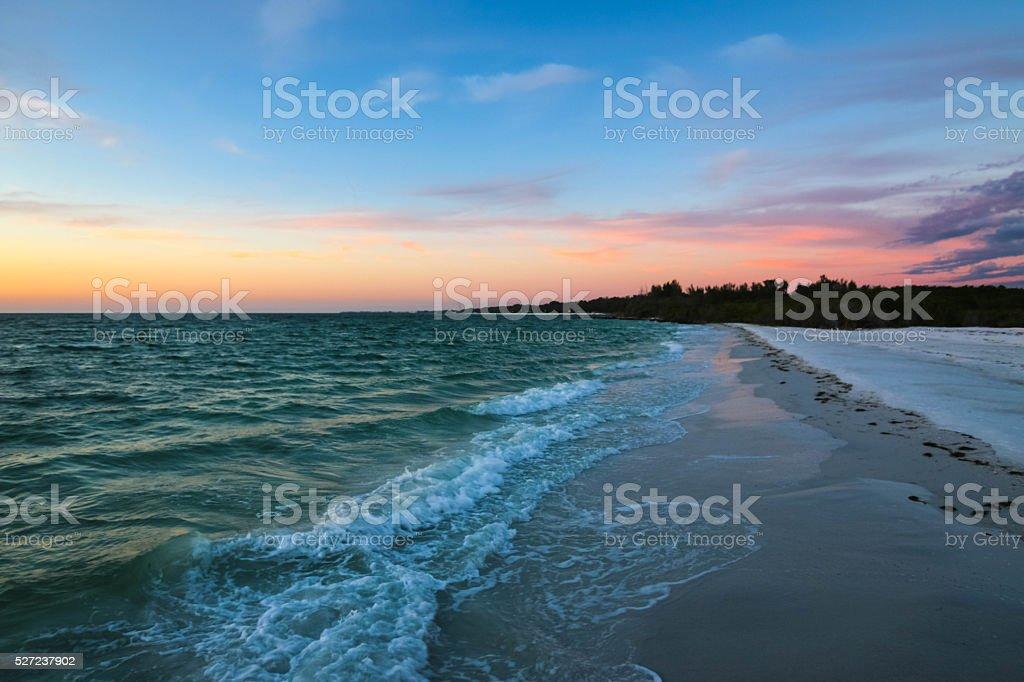 Sunset Waves on Longboat Key, Florida stock photo