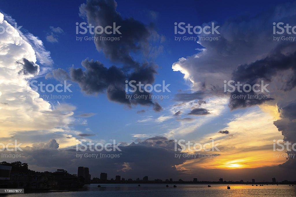 Sunset Westlake Hoang hon Ho Tay stock photo