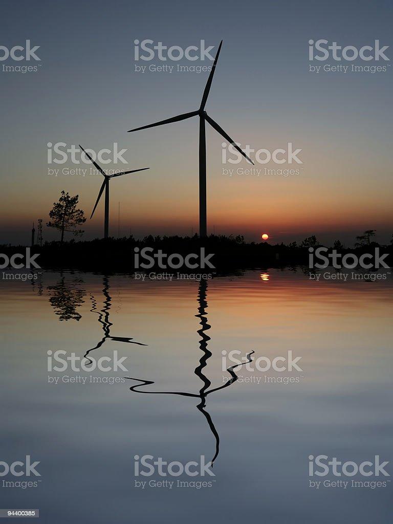 sunset Wind Turbines stock photo