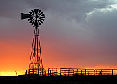 sunset over the western kansas prairie with windmill silouette in foreground