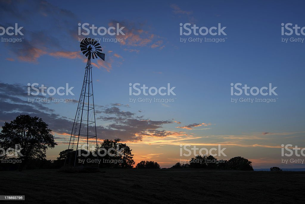 Sunset Windmill stock photo