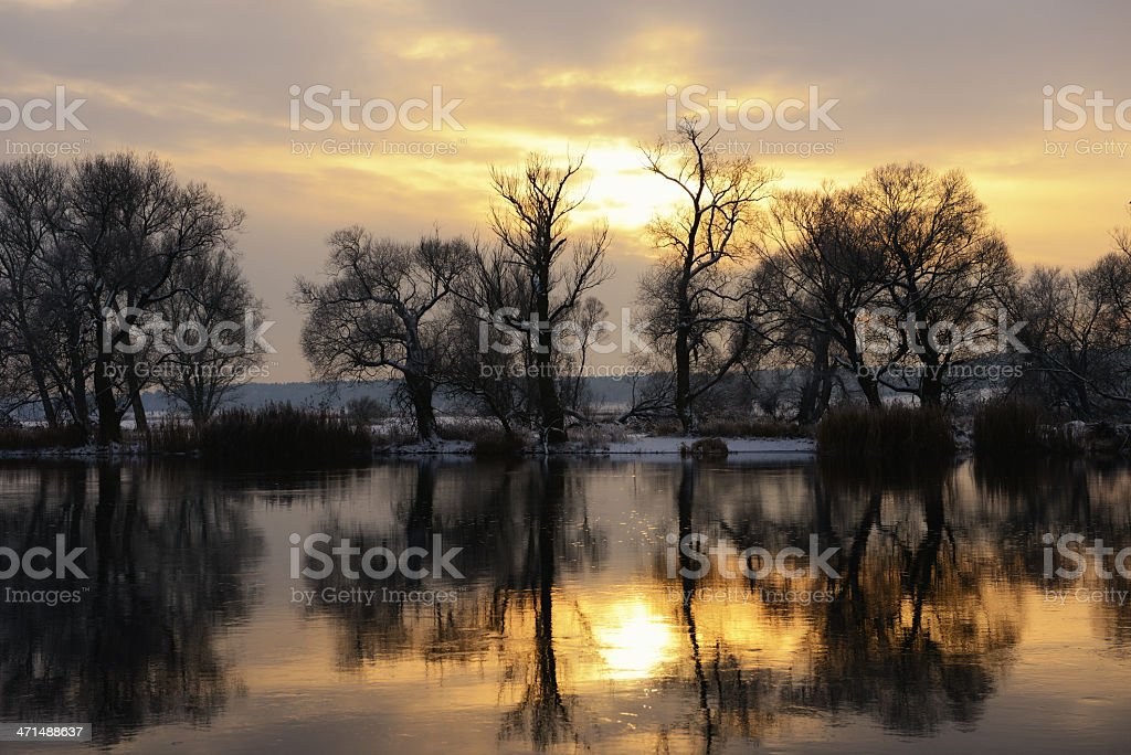 Sunset winter landscape at Havel River (Germany) stock photo