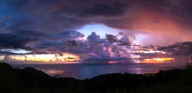 Sonnenuntergang mit bewölktem Himmel, Dominica. – Foto