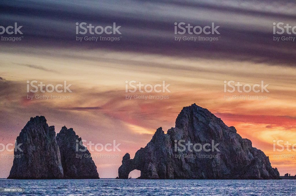 Sunset with a stunning beautiful sky above the Coastline California Peninsula. Mexico. royalty-free stock photo