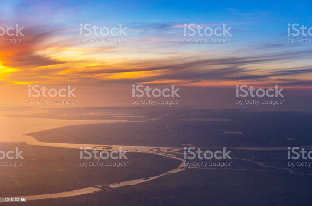 Groovy Sunset With Aerial View Of Sea And River From Airplane Plane Beatyapartments Chair Design Images Beatyapartmentscom